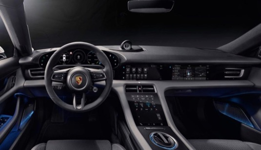 interiér elektromobilu Porsche Taycan