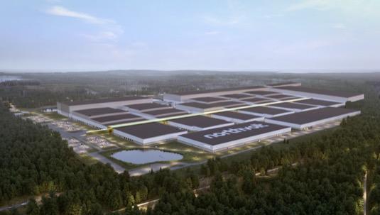 Budoucí závod Northvolt Ett na výrobu akumulátorových článků ve Švédsku