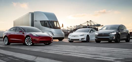auto elektromobily Tesla Model X, Model S, Model 3 a Tesla Semi