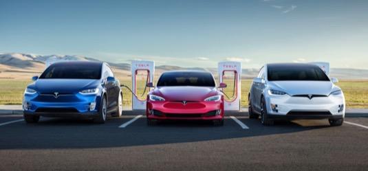 auto elektromobily Tesla Model S, Model X, Model 3