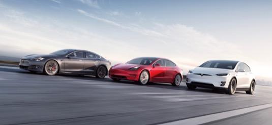 auto elektromobily Tesla Model S, Model X a Model 3