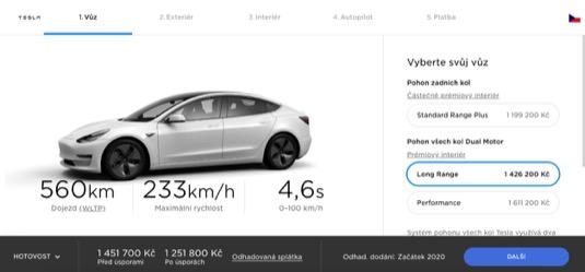 auto elektromobil Tesla Model 3 Cena v ČR